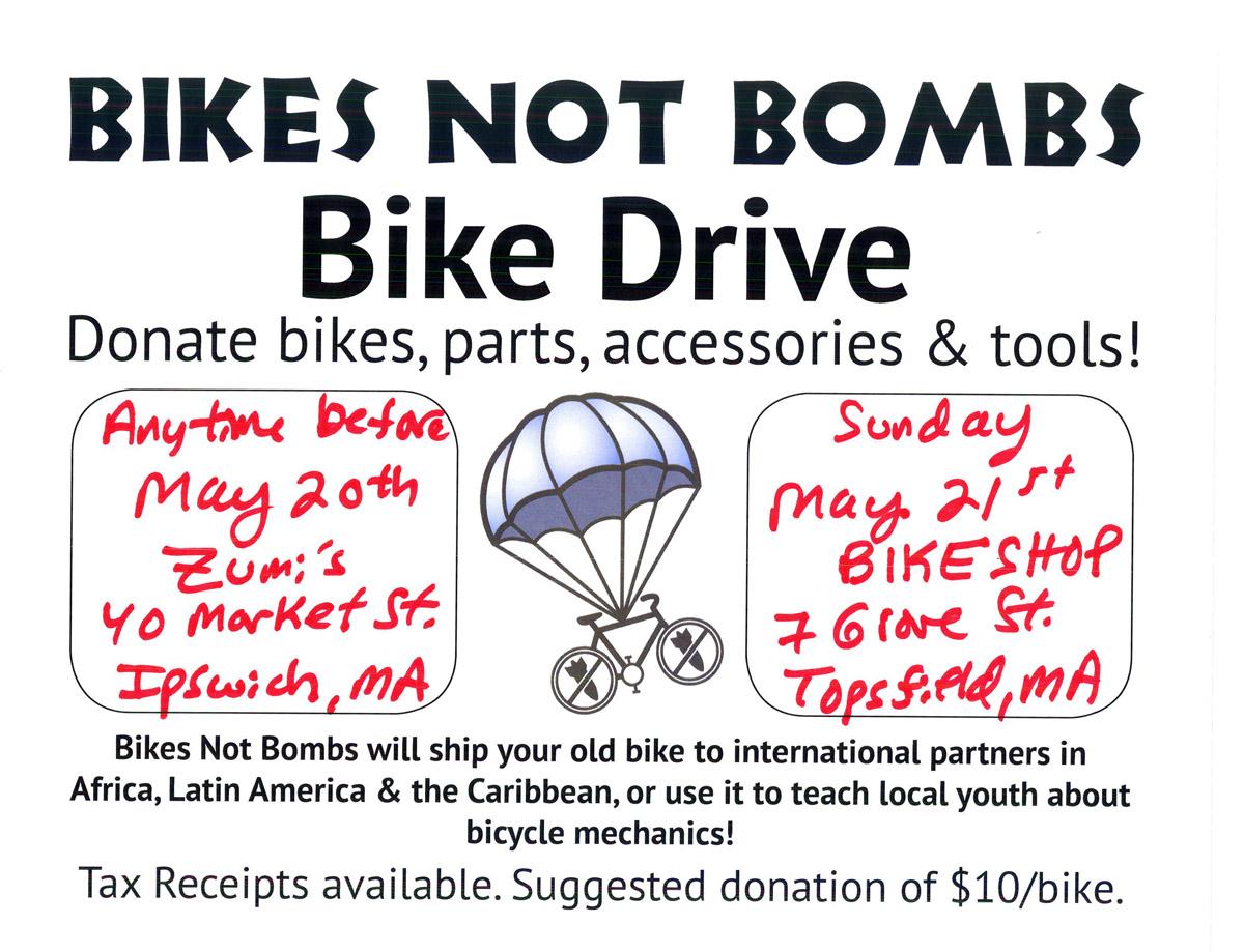 Bikes Not Bombs bike drive, Ipswich/Topsfield