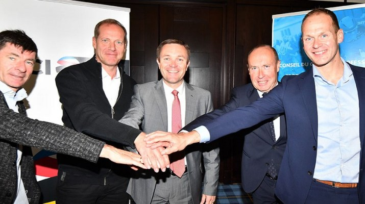 UCI - Accord Réforme Cyclisme 2020 - Gianni Bugno Christian Prudhomme David Lappartient Tom Vandamme et Iwan Spekenbrink