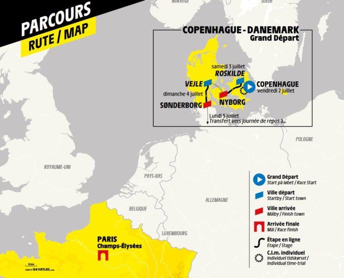Carte générale - Départ Tour de France 2021