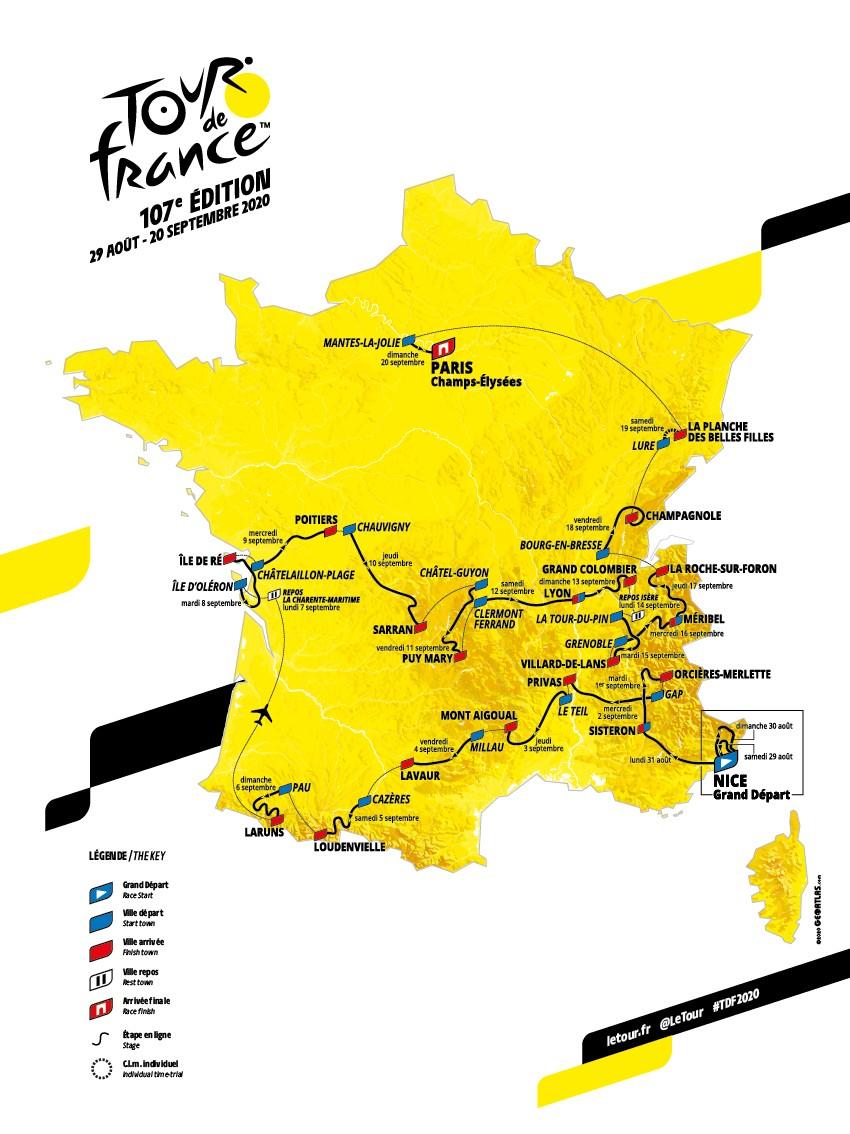 Tour de France 2020 : voici les cartes et profils des 21 étapes de la 107e édition