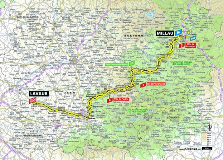 Carte - 7e étape - Tour de France 2020 - ASO/Geoatlas