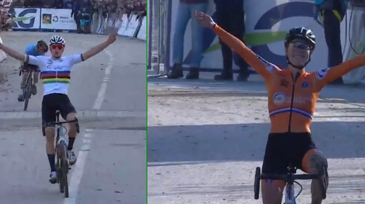 Championnats d'Europe cyclo-cross 2019 - Montage Mathieu van der Poel et Yara Kastelijn