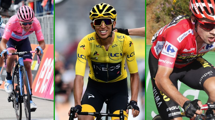 Montage vainqueurs Grands Tours 2019 - Richard Carapaz - Egan Bernal - Primoz Roglic