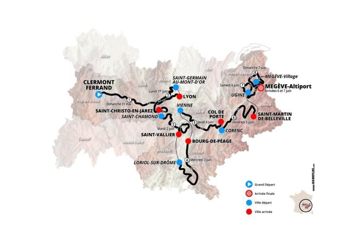 Carte générale - Critérium du Dauphiné 2020