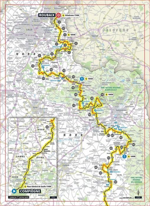 Carte - Paris-Roubaix 2020