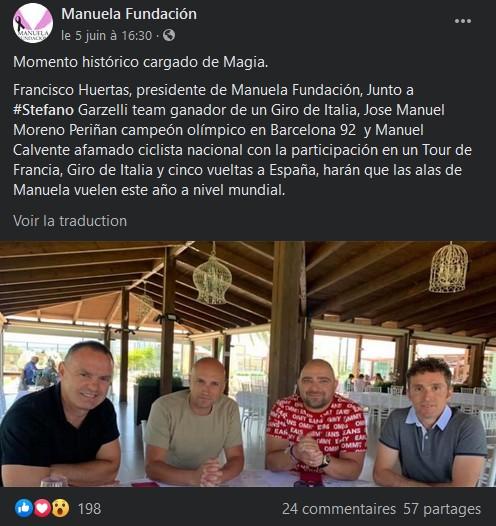 Facebook Manuela Fundacion - Publication Stefano Garzelli - 5 juin 2020