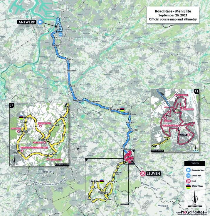 Championnats du monde sur route 2021 - Parcours Course en ligne élites hommes
