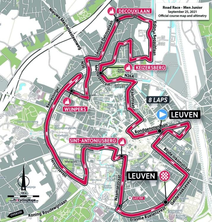 Championnats du monde sur route 2021 - Parcours Course en ligne juniors hommes