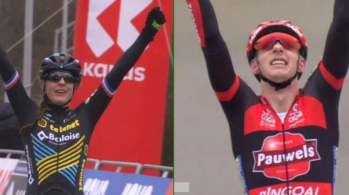 Montage Lucinda Brand Michael Vanthourenhout - Vainqueurs cyclo-cross Tabor 2020 - Capture Proximus Sports
