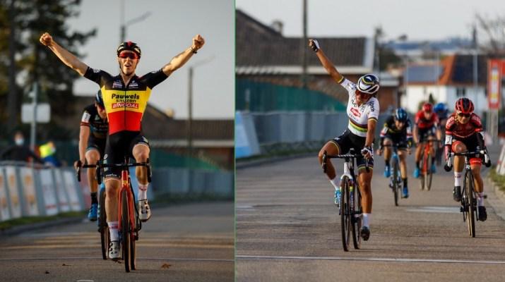 Montage - Victoires Laurens Sweeck et Ceylin Del Carmen Alvarado - Cyclo-cross de Louvain 2020 - Alain Vandepontseele