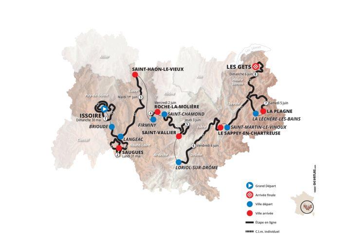 Carte générale - Critérium du Dauphiné 2021
