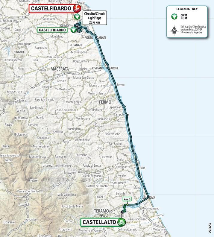 Carte - 5e étape - Tirreno-Adriatico 2021