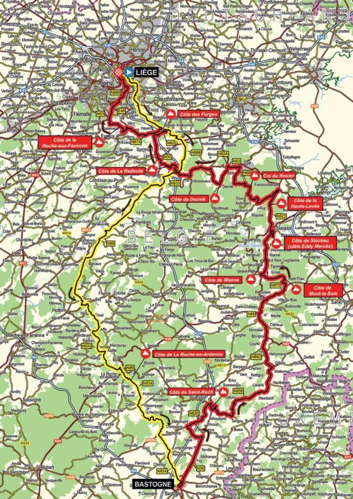 Carte - Liège-Bastogne-Liège Hommes 2021