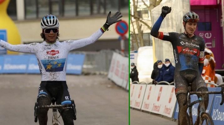 Montage Ceylin Del Carmen Alvarado Toon Aerts - Vainqueurs Cyclo-cross de Bruxelles 2021 - Alain Vandepontseele