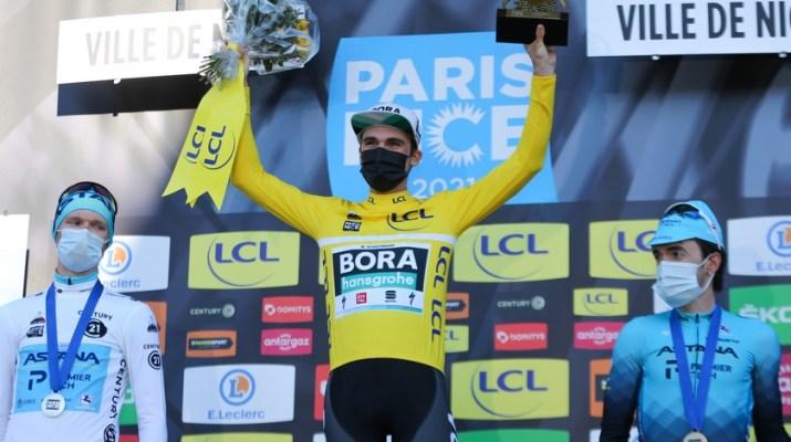 Podium final Maximilian Schachmann Aleksandr Vlasov Ion Izagirre - 8e étape Paris-Nice 2021 - ASO Fabien Boukla