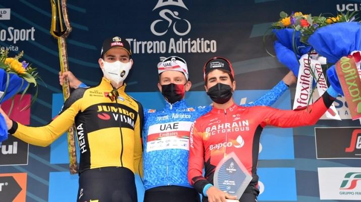 Podium final - Wout van Aert Tadej Pogacar Mikel Landa - Tirreno-Adriatico 2021 - RCS Sport La Presse