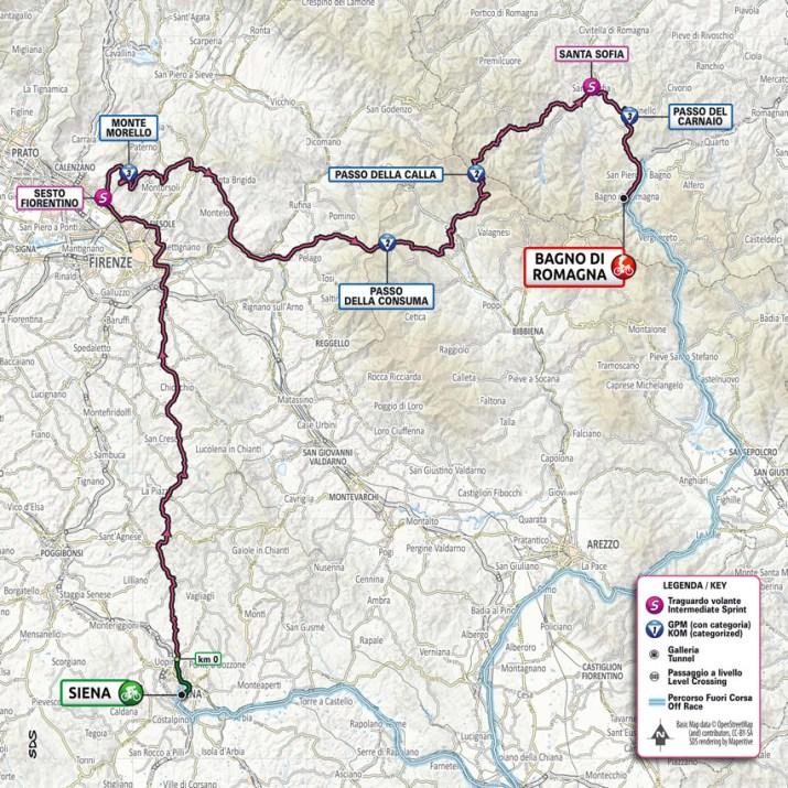 12e étape - Carte - Tour d'Italie Giro 2021