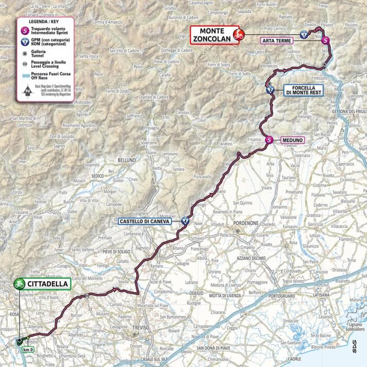 14e étape - Carte - Tour d'Italie Giro 2021