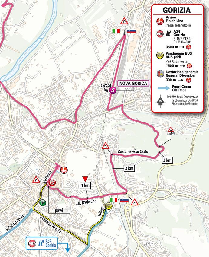 15e étape - Carte du final - Tour d'Italie Giro 2021