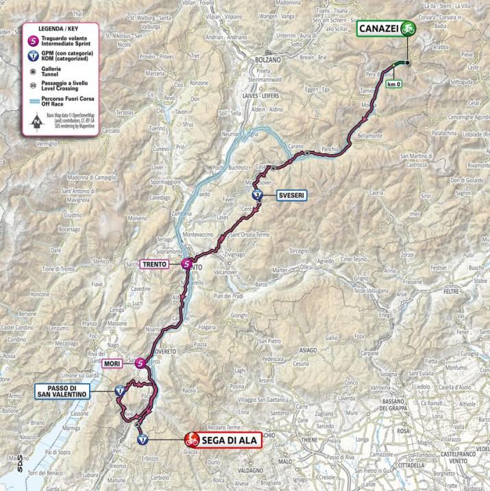 17e étape - Carte - Tour d'Italie Giro 2021