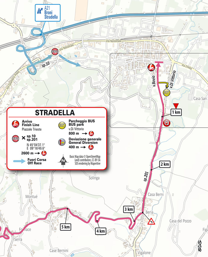 18e étape - Carte du final - Tour d'Italie Giro 2021