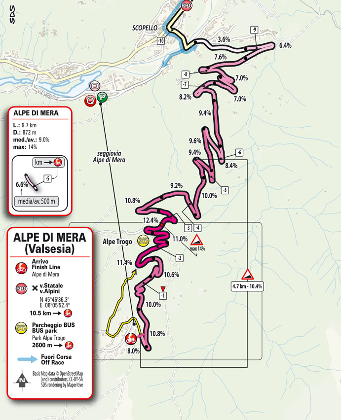 19e étape - Carte du final - Tour d'Italie Giro 2021