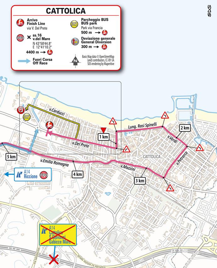 5e étape - Carte du final - Tour d'Italie Giro 2021
