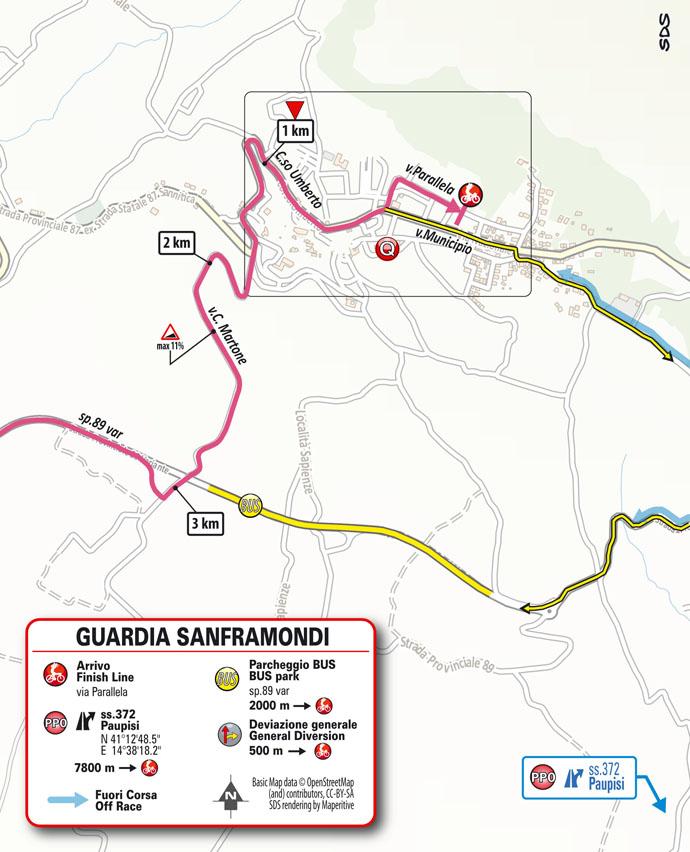 8e étape - Carte du final - Tour d'Italie Giro 2021