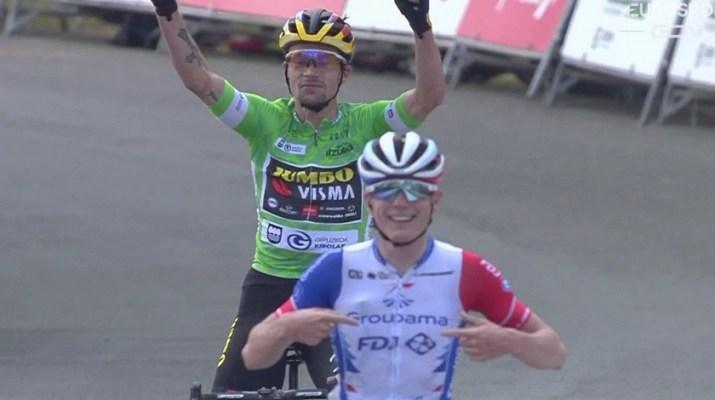 Primoz Roglic David Gaudu - Arrivée 6e étape Tour du Pays Basque 2021 - Capture Eurosport