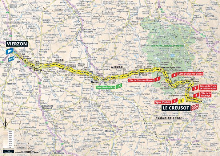 7e étape - Carte - Tour de France 2021