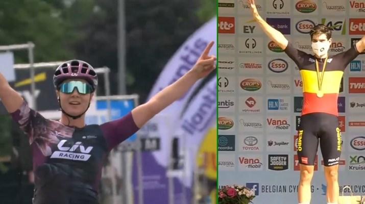 Montage - Lotte Kopecky et WOut van Aert Champions de Belgique 2021