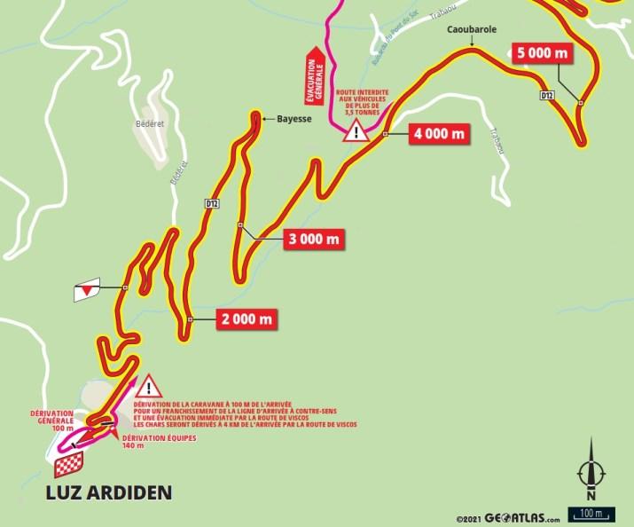 18e étape - Carte du final - Tour de France 2021