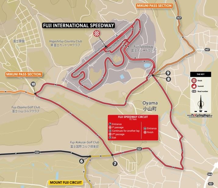 Carte du final - Course en ligne Hommes - Jeux Olympiques Tokyo 2020 - ProCyclingMaps