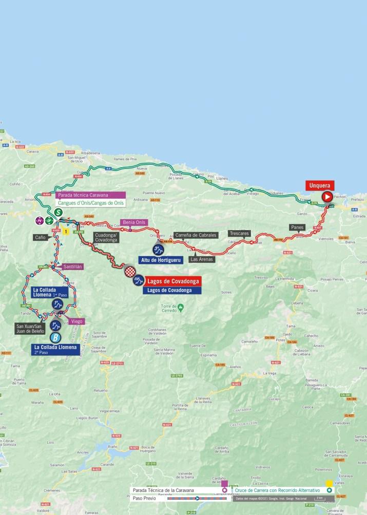 17e étape - Carte - Tour d'Espagne Vuelta 2021