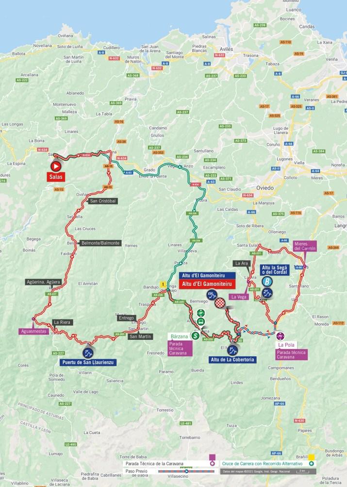 18e étape - Carte - Tour d'Espagne Vuelta 2021