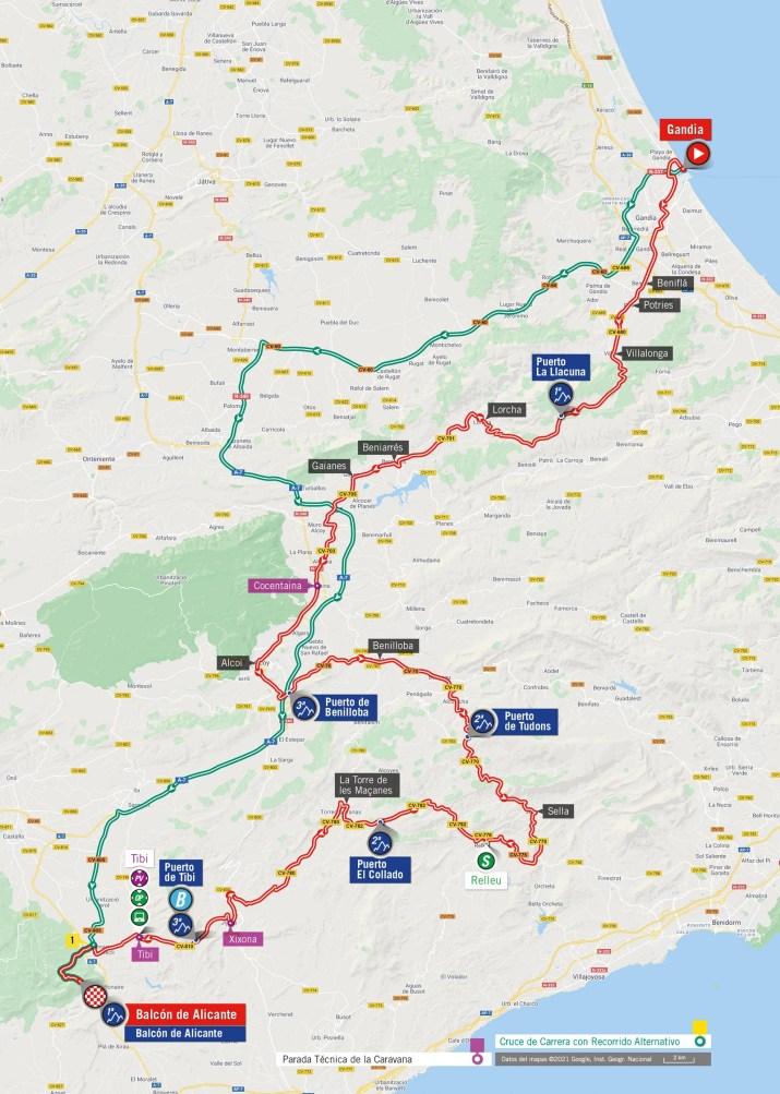 7e étape - Carte - Tour d'Espagne Vuelta 2021