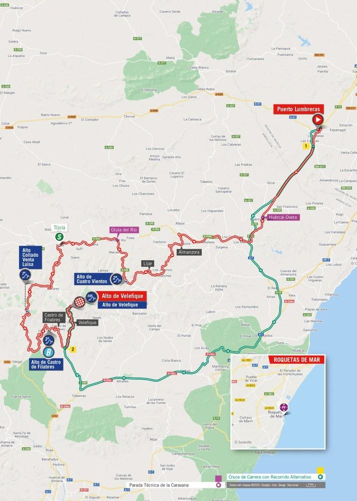 9e étape - Carte - Tour d'Espagne Vuelta 2021