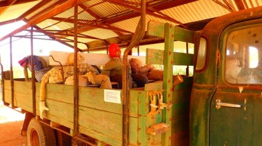 Rather creepy stuffed passengers in the back of a truck at the museum in Murchison (settlement)