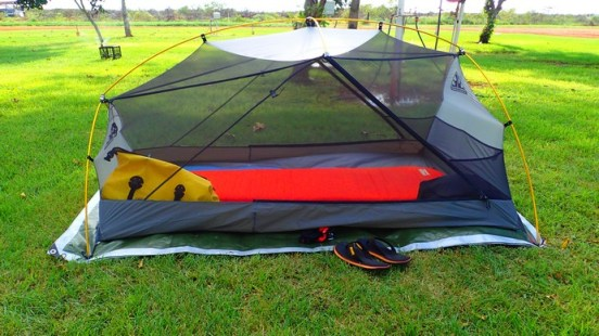 My cute far more suitable for Australian conditions Wilderness Equipment tent. Comes with a fly, but it great to sleep comfortable and mozzy free AND look at the sky