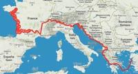 La carte du parcours en Europe