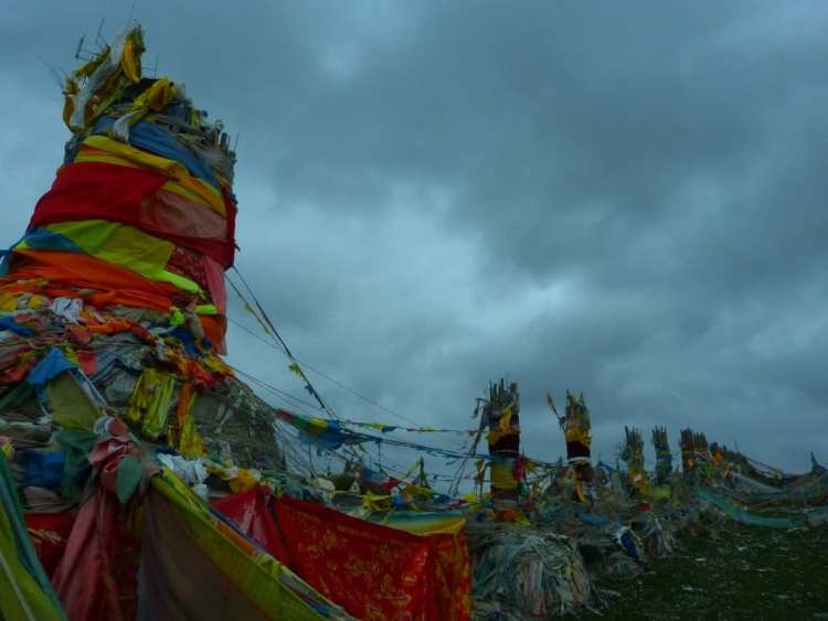 buddhist flags, lung ta, qinghai, China