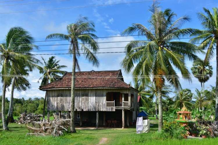 traditional Khmer stilt house cambodia travel