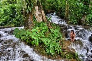 Hot Spring waterfall in Laos