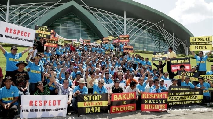 protest against Baram dam. Image by SaveSarawakRivers