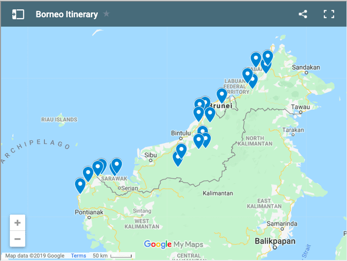 things to do borneo map