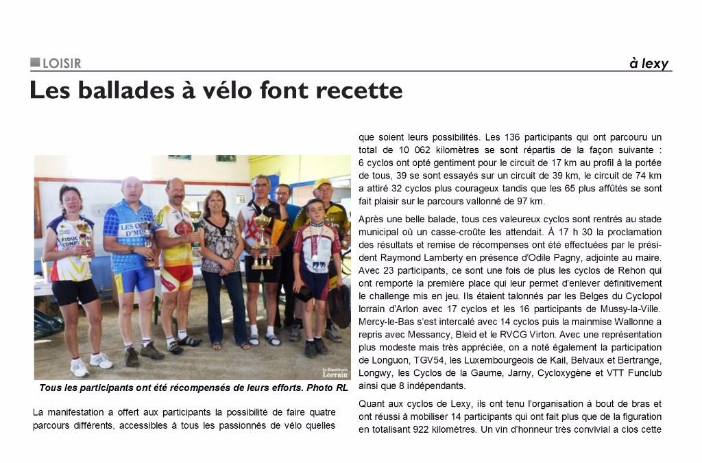 Article de presse : Brevet de la Ville de Lexy 2011