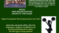 CyFalls Cheer Clinic  September 14th 2019