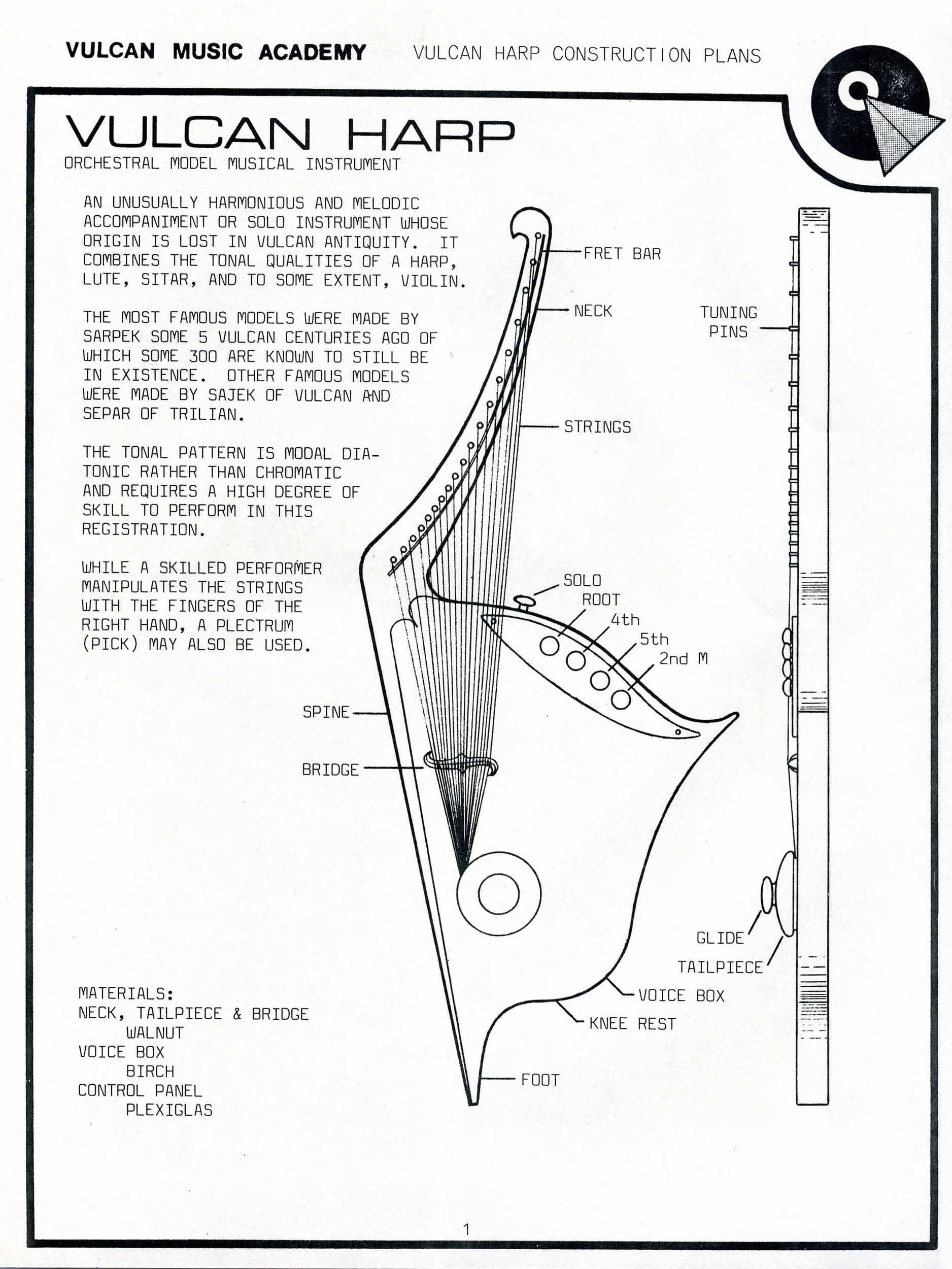 Star Trek Blueprints Vulcan Harp Construction Plans