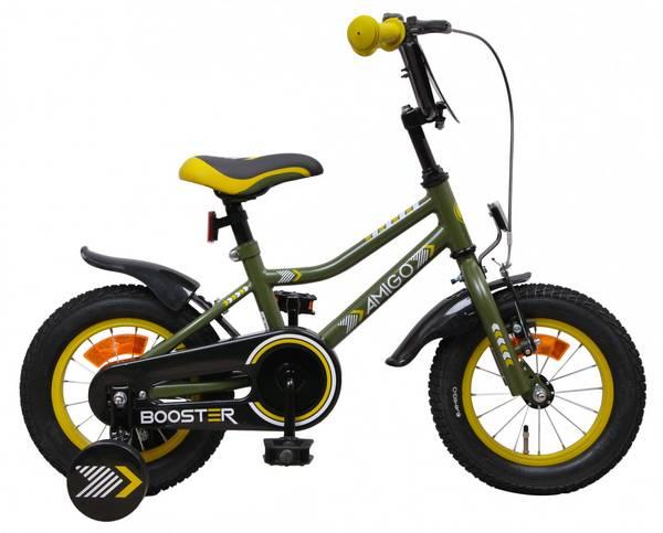 AMIGO Booster 12 tommer drengecykel med støttehjul grøn fra højre side