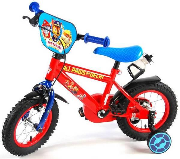 Paw Patrol cykel, rød og blå med støttehjul, fod og håndbremse